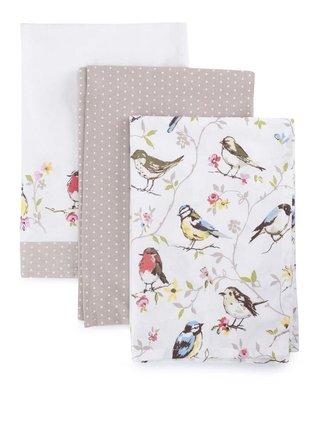 Sada tří utěrek v bílé a hnědé barvě s motivem ptáků Cooksmart Chorus Dawn