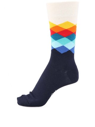 Sosete unisex cu imprimeu Happy Socks Faded Diamond