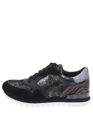 Stříbrno-černé kožené tenisky Tamaris