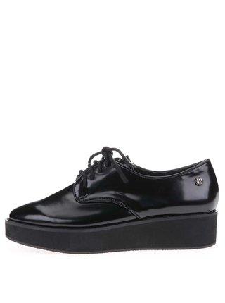 Černé lakované boty s vyšší podrážkou Blink