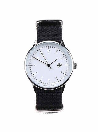 Unisex hodinky v striebornej farbe s čiernym textilným remienkom Cheapo Harold Black