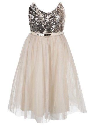 9d3431af5660 Béžové šaty s flitrovaným topom v zlatej farbe LIttle Mistress