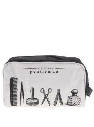 Černo-šedá kosmetická taška s potiskem Gift Republic Distinguished gentleman