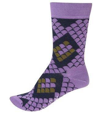 Fialové unisex ponožky s hadím motívom Happy Socks Snake