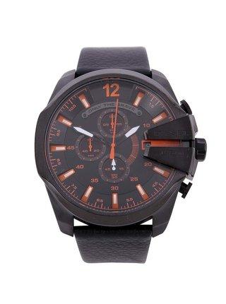 Čierne pánske hodinky z nerezovej ocele s koženým remienkom Diesel