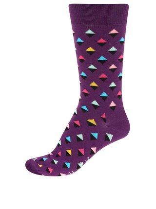 Fialové unisex ponožky s trojuholníkmi Happy Socks Mini Diamond
