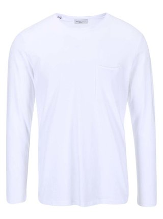 Biele tričko s dlhým rukávom Selected Homme Pima Florenc
