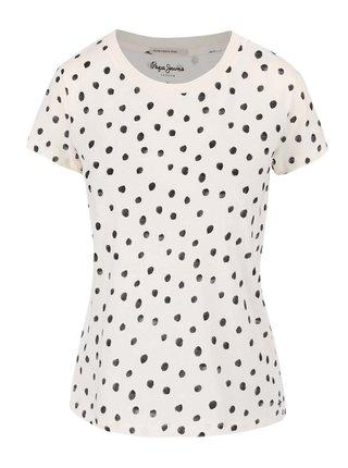 Krémové dámské tričko s puntíky Pepe Jeans Anette