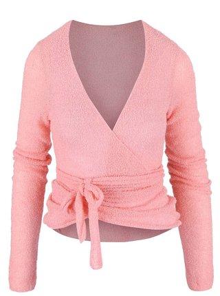 Cadigan roz tricotat cu cordon in talie DEHA