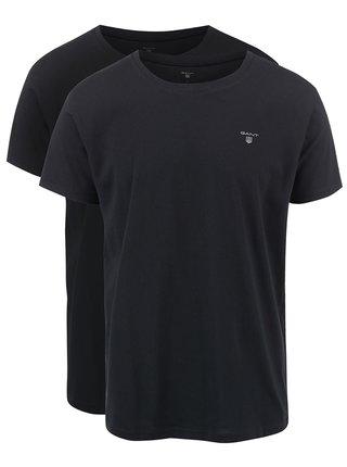 Kolekcia dvoch čiernych basic tričiek s okrúhlym výstrihom GANT