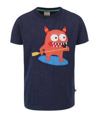Tmavomodré chlapčenské tričko s príšerkou Frugi Stanley