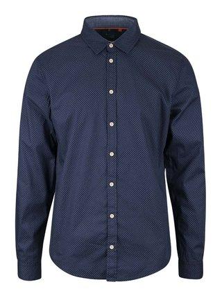 Čierno-modrá vzorovaná slim fit košeľa Blend