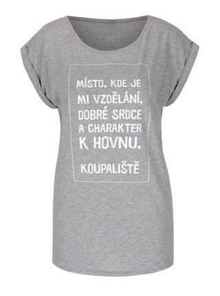 Šedé dámské tričko s krátkým rukávem Bez Jablka Koupaliště