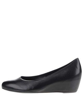 Čierne kožené topánky na platforme Högl
