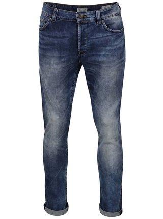 Tmavě modré slim džíny s vyšisovaným efektem ONLY & SONS Loom