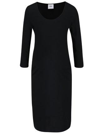 Černé těhotenské šaty s 3/4 rukávy Mama.licious Lea