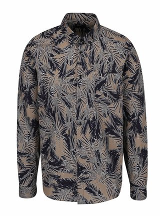 Camasa maro&albastru cu print tropical Burton Menswear London