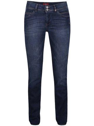 Tmavě modré dámské slim fit džíny s vyšisovaným efektem s.Oliver