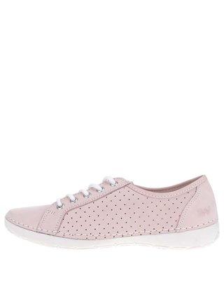 Pantofi roz pal din piele cu perforatii pentru femei Weinbrenner