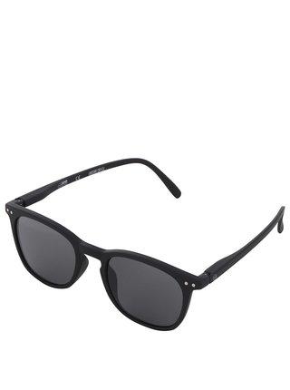 Čierne unisex slnečné okuliare s čiernymi sklami IZIPIZI #E