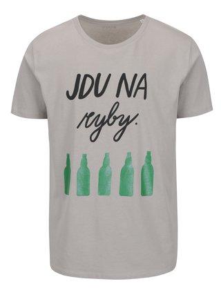 Šedé pánské tričko s krátkým rukávem ZOOT Originál Jdu na ryby