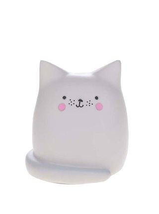 Světle šedá malá LED lampa ve tvaru kočky Disaster Cat