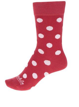 Bílo-červené unisex puntíkované ponožky Fusakle Komanč