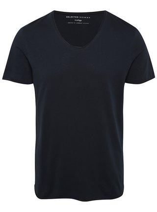 Tmavě modré basic tričko s krátkým rukávem Selected Homme Newmerce
