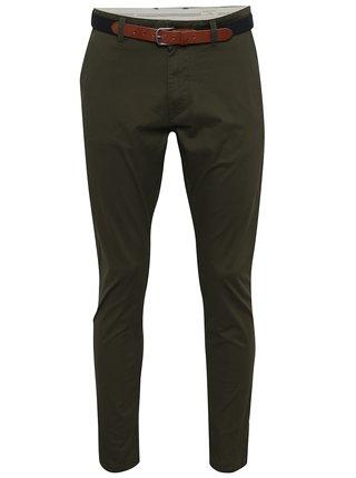 Pantaloni chino verde inchis cu curea - Selected Homme Yard
