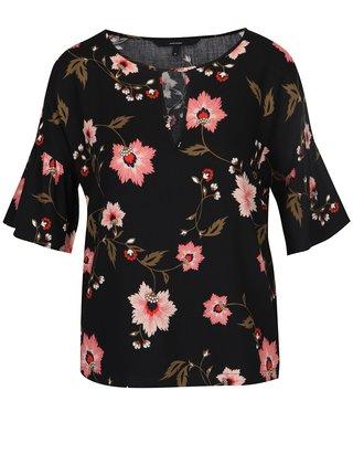 Bluza neagra cu print floral multicolor VERO MODA Nadia