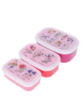 Sada tří červeno-růžových holčičích svačinových boxů Tyrrell Katz Flower Fairy