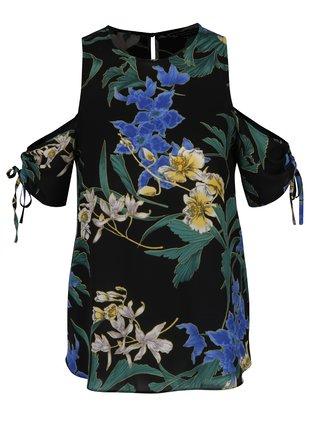 Bluza neagra cu model floral si umeri decupati Dorothy Perkins