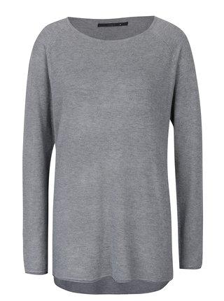 Sivý sveter s predĺženým zadným dielom ONLY Mila