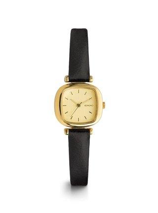 Ceas de dama auriu cu curea neagra din piele - Komono Moneypenny