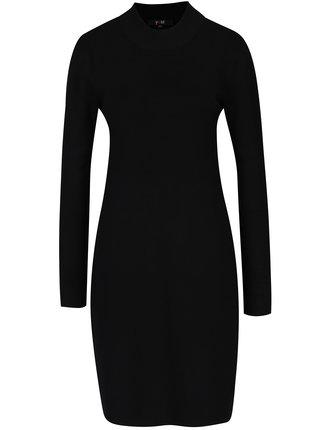 Čierne svetrové šaty s dlhým rukávom Yest