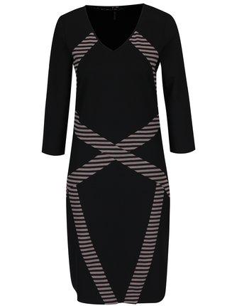 Ružovo-čierne vzorované šaty Yest