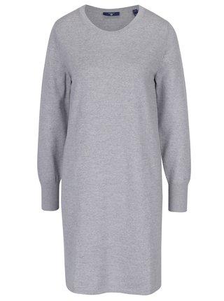 Šedé žíhané svetrové vlněné šaty GANT
