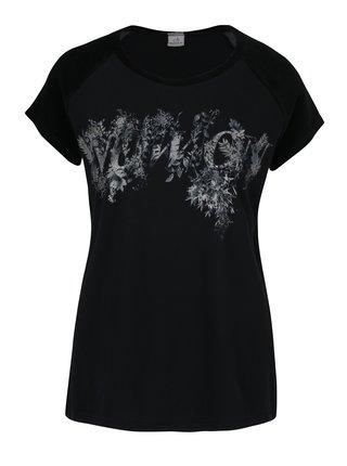 Černé tričko s potiskem a sametovým rukávem DEHA