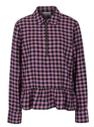 215722bd4728 Čierno–ružová kockovaná košeľa s volánom Noisy May Erik