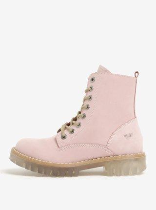 Světle růžové dámské semišové kotníkové boty Weinbrenner