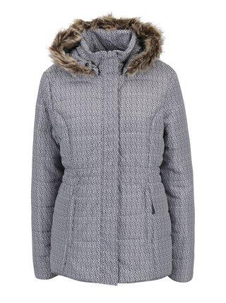 Geaca negru & alb mata de iarna cu gluga si blana artificiala pentru femei LOAP Tamda