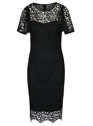 Černé krajkové šaty krátkým rukávem Paper Doll
