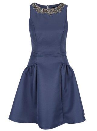 Rochie albastru inchis cu detaliu colier din margele Little Mistress
