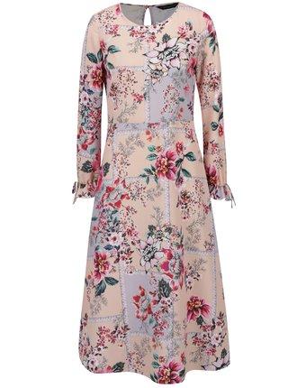 Ružové kvetované šaty s volánmi na rukávoch Dorothy Perkins