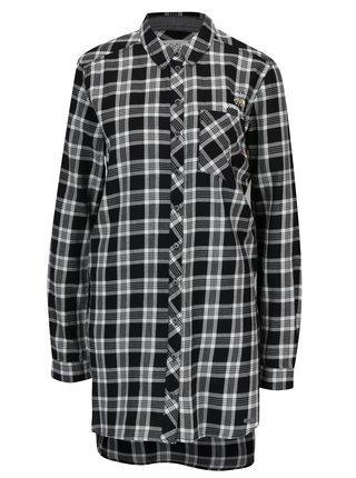 4bfc84f990 Bielo-čierna dámska dlhá károvaná košeľa s.Oliver