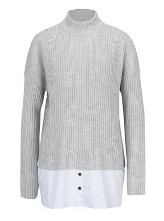 Světle šedý svetr s příměsí vlny a všitým košilovým dílem Noisy May Nami