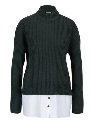 Tmavě zelený svetr s příměsí vlny a všitým košilovým dílem Noisy May Nami