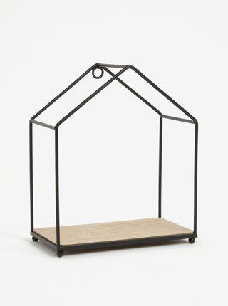 Raft agatator sub forma de casuta metalica cu baza din lemn - Sass & Belle House Shelf