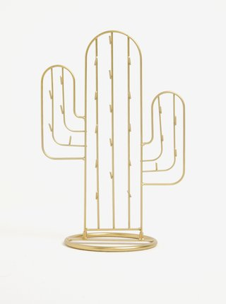 Stojan na šperky v tvare kaktusu v zlatej farbe Sass & Belle Gold Cactus