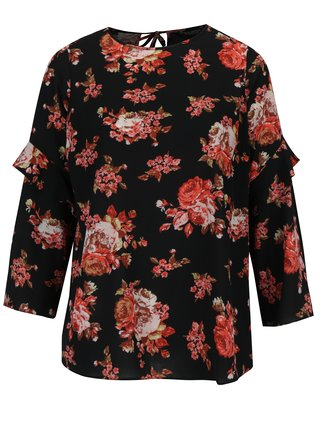 Bluza neagra cu volane pe maneci si print floral Dorothy Perkins Curve